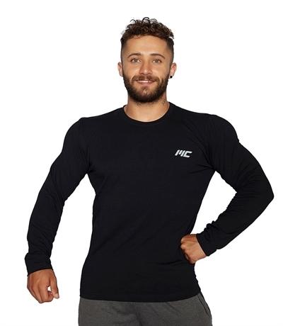 MuscleCloth Basic Uzun Kollu T-Shirt Siyah