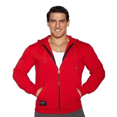 MuscleCloth Kapüşonlu Fermuarlı Sweatshirt Kırmızı