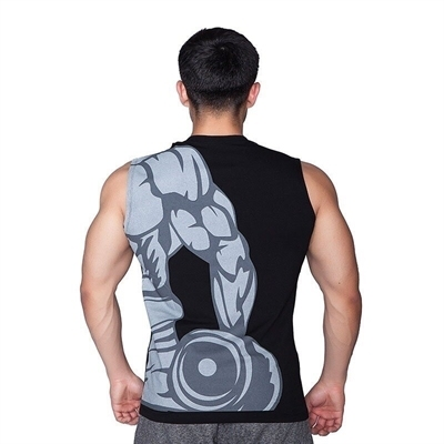 Supplementler Dumbell Arm Kolsuz T-Shirt Siyah