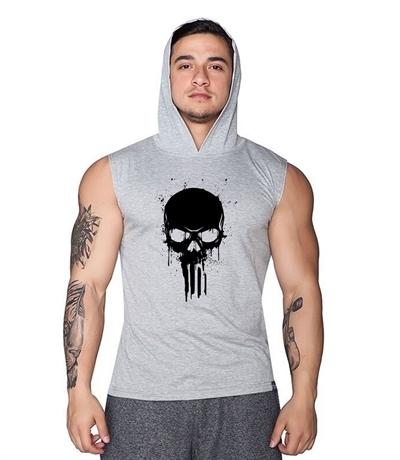 Supplementler Skull Kapüşonlu Kolsuz T-Shirt Gri