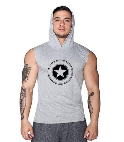 Supplementler Star Kapüşonlu Kolsuz T-Shirt Gri