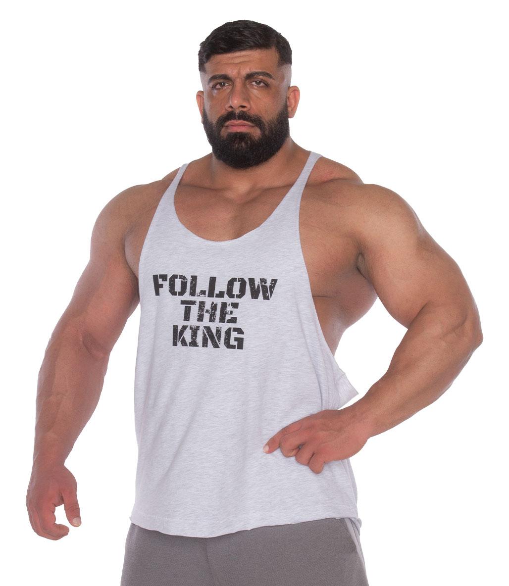 Kingsize Follow The King Antrenman Atleti Ön Baskılı Açık Gri Melanj