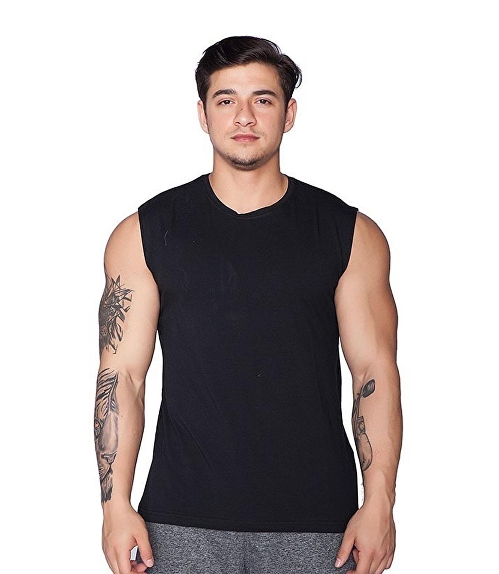 Supplementler Deadlift Kolsuz T-Shirt Siyah
