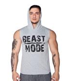 Supplementler Beast Mode Kapüşonlu Kolsuz T-Shirt Gri