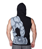 Supplementler Dumbell Arm Kapüşonlu Kolsuz T-Shirt Siyah