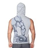 Supplementler Dumbell Arm Kapüşonlu Kolsuz T-Shirt Gri
