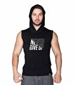 Supplementler Never Give Up Kapüşonlu Kolsuz T-Shirt Siyah