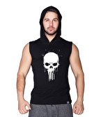 Supplementler Skull Kapüşonlu Kolsuz T-Shirt Siyah