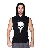 Supplementler Skull Kapüşonlu Kolsuz T-Shirt Siyah