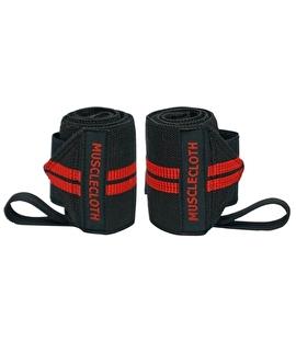 MuscleCloth Pro Wrist Wraps Siyah Kırmızı 2'li Paket