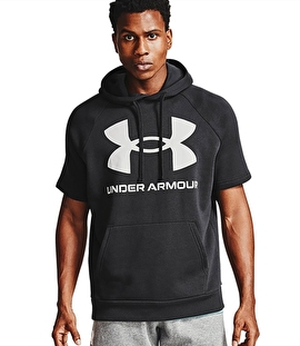 Under Armour Rival Flc Big Logo Ss Hd Kısa Kollu Sweatshirt Siyah