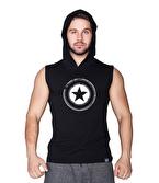 Supplementler Star Kapüşonlu Kolsuz T-Shirt Siyah