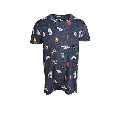 John Frank Baskılı Dijital T-Shirt Ripped