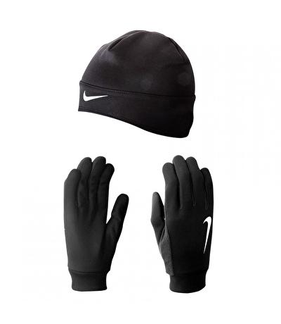 Nike Run Termal Bere Ve Eldiven Seti Siyah
